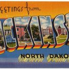 DICKINSON, North Dakota large letter linen postcard Tichnor
