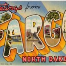 FARGO, North Dakota large letter linen postcard Teich