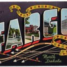 FARGO, North Dakota large letter linen postcard Kropp