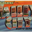 VALLEY CITY, North Dakota large letter linen postcard Tichnor