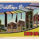 ELKHART, Indiana large letter linen postcard Teich