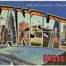 EVANSVILLE, Indiana large letter linen postcard Teich