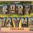 FORT WAYNE, Indiana large letter linen postcard Tichnor
