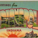 INDIANAPOLIS, Indiana large letter linen postcard Metropolitan
