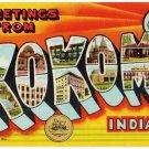 KOKOMO, Indiana large letter linen postcard Teich