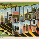 MICHIGAN CITY, Indiana large letter linen postcard Teich