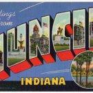 MUNCIE, Indiana large letter linen postcard Teich