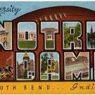 NOTRE DAME, Indiana large letter linen postcard Kropp