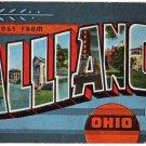 ALLIANCE, Ohio large letter linen postcard Kropp