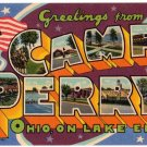 CAMP PERRY, Ohio large letter linen postcard Teich