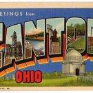 CANTON, Ohio large letter linen postcard Teich