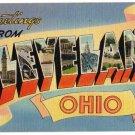 CLEVELAND, Ohio large letter linen postcard Tichnor