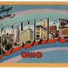 COLUMBUS, Ohio large letter linen postcard Tichnor