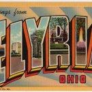 ELYRIA, Ohio large letter linen postcard Teich