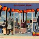 SANDUSKY, Ohio large letter linen postcard Teich