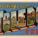 TOLEDO, Ohio large letter linen postcard Teich