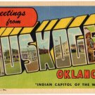 MUSKOGEE, Oklahoma large letter linen postcard Teich