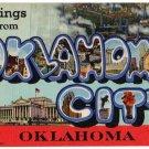OKLAHOMA CITY large letter linen postcard Teich