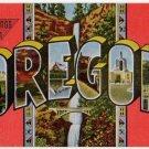 OREGON large letter linen postcard Kropp