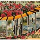 PORTLAND, Oregon large letter linen postcard Tichnor