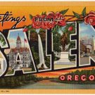 SALEM, Oregon large letter linen postcard Teich