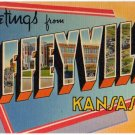 COFFEYVILLE, Kansas large letter linen postcard Tichnor