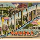 MANHATTAN, Kansas large letter linen postcard Teich