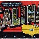 SALINA, Kansas large letter linen postcard Kropp