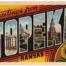 TOPEKA, Kansas large letter linen postcard Teich