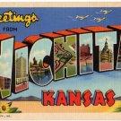 WICHITA, Kansas large letter linen postcard Teich