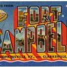 FORT CAMPBELL, Kentucky large letter linen postcard Teich