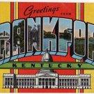 FRANKFORT, Kentucky large letter linen postcard Kropp