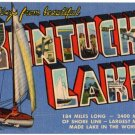 KENTUCKY LAKE large letter linen postcard Teich