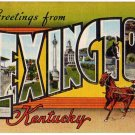 LEXINGTON, Kentucky large letter linen postcard Kropp