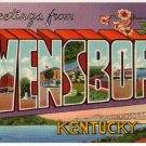 OWENSBORO, Kentucky large letter linen postcard Teich