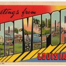 SHREVEPORT, Louisiana large letter linen postcard Teich