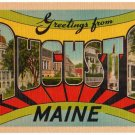 AUGUSTA, Maine large letter linen postcard Eastern Photo