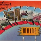 LEWISTON, Maine large letter linen postcard Tichnor
