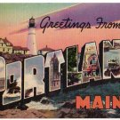 PORTLAND, Maine large letter linen postcard Colourpicture