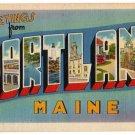 PORTLAND, Maine large letter linen postcard Tichnor