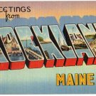 ROCKLAND, Maine large letter linen postcard Tichnor