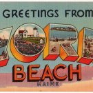 YORK BEACH, Maine large letter linen postcard Tichnor
