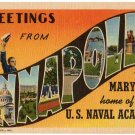 ANNAPOLIS, Maryland large letter linen postcard Teich