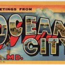 OCEAN CITY, Maryland large letter linen postcard Teich