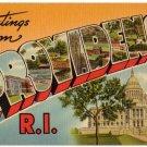 PROVIDENCE, Rhode Island large letter linen postcard Tichnor