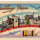 WESTERLY, Rhode Island large letter linen postcard Tichnor