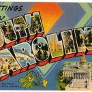 SOUTH CAROLINA large letter linen postcard Tichnor