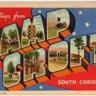 CAMP CROFT, South Carolina large letter linen postcard Teich