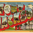 FORT JACKSON, South Carolina large letter linen postcard Teich