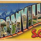 GREENVILLE, South Carolina large letter linen postcard Teich